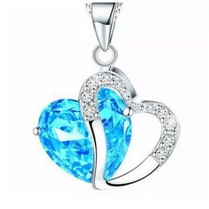 Light Blue Heart Clear Crystal Pendant Necklace